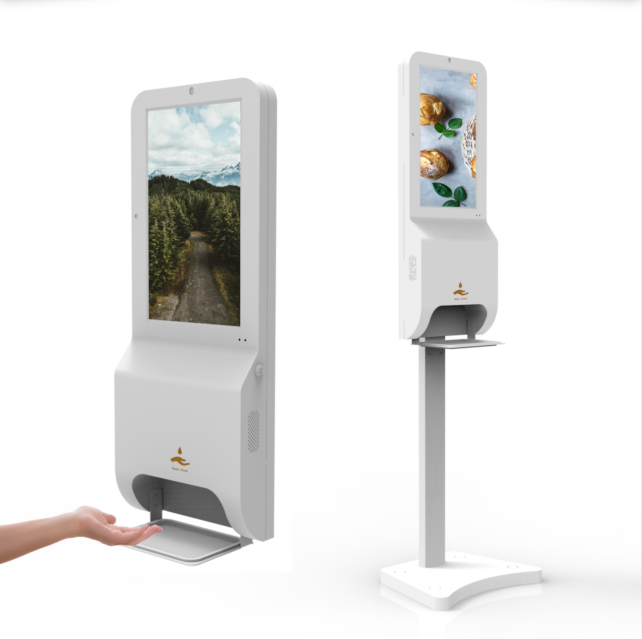 coronavirus soluciones carteleria digitalunidad higiene manos con pantalla